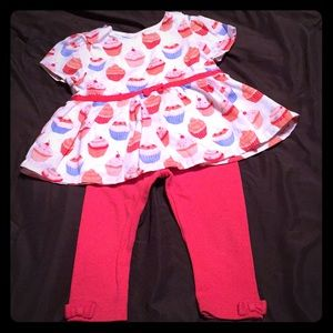 Cupcake top w/ bow leggings